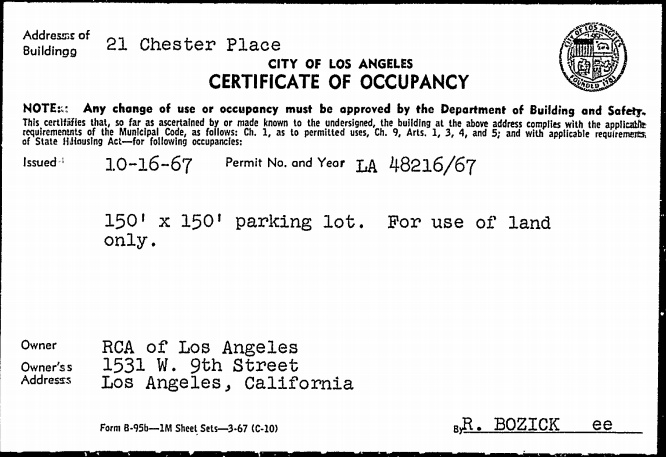 'Certificate of Occupancy' for use of the land as a parking lot (Oct. 16, 1967) Photo Credit: lacity.org